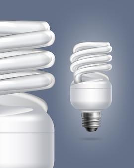 Lámparas de ahorro de energía fluorescentes vectoriales individuales y de cerca sobre fondo de color