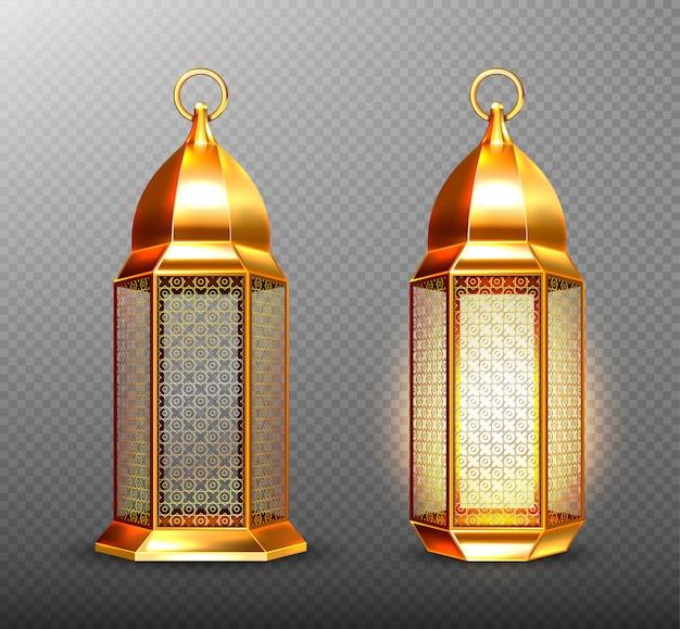 Lámparas árabes, faroles árabes dorados con adorno.