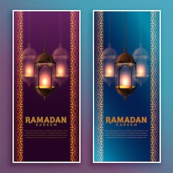 Lámparas colgantes islámicas ramadan kareem banner design