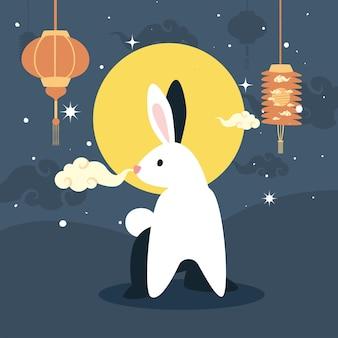 Lámparas de conejo y mediados de otoño.