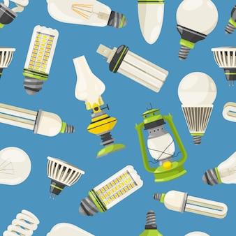 Lámparas y diferentes bombillas en estilo de dibujos animados.