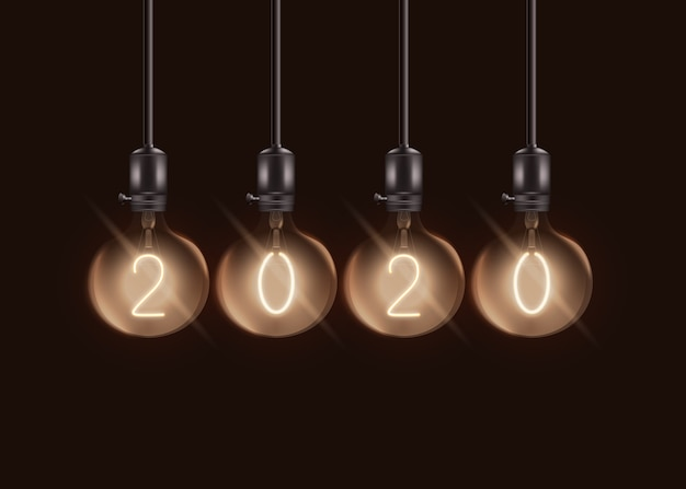 Lámparas eléctricas redondas con número dentro de bombillas de esfera - juego de decoración de bombillas de año nuevo realista -
