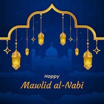 Lámparas y mezquita de tarjetas de felicitación milad-un-nabi
