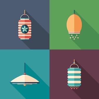 Lámparas modernas iconos cuadrados planos con largas sombras.