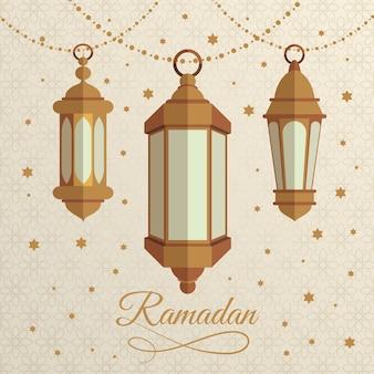 Lámparas de ramadan de diseño plano