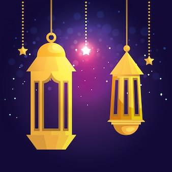 Lámparas tradicionales colgando diseño de decoración