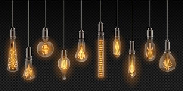 Lámparas vintage colgando de cables