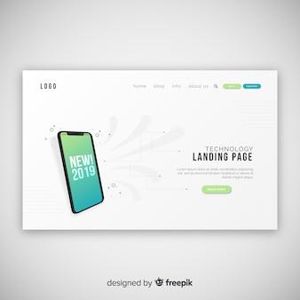 Landing page abstracta con dispositivos tecnológicos