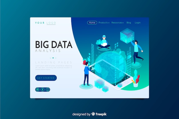 Landing page de análisis de big data