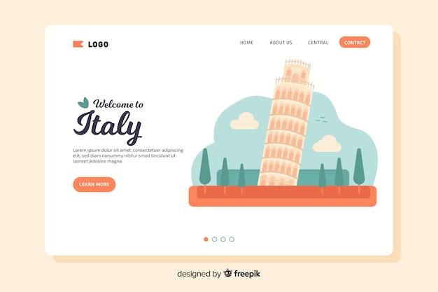 Landing page de bienvenida a italia