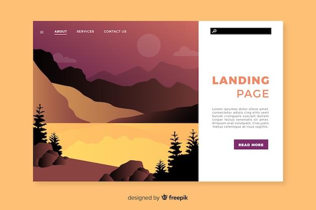 Landing page de bienvenida con paisaje degradado