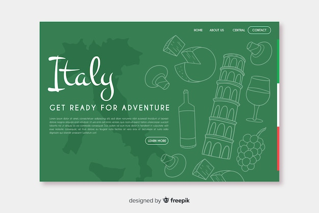 Landing page de bienvenido a italia