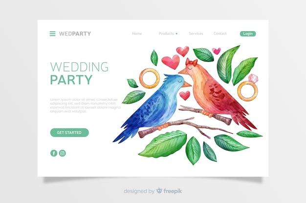 Landing page de boda en acuarela