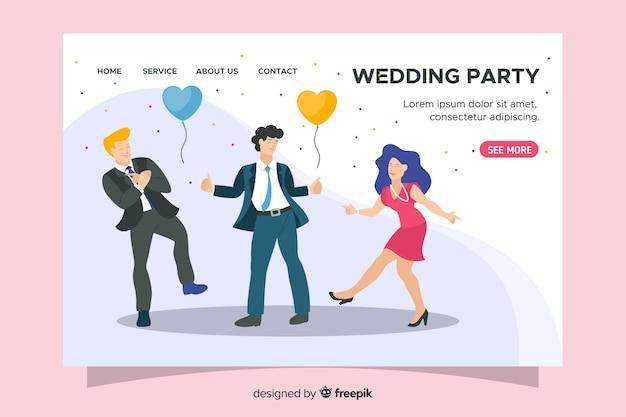 Landing page de boda en diseño plano