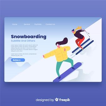 Landing page chicas haciendo snowboard
