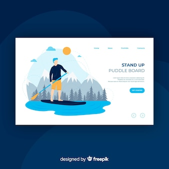 Landing page chico haciendo paddle board