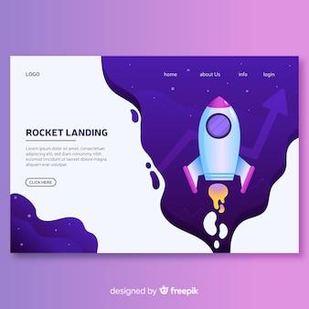 Landing page cohete plano