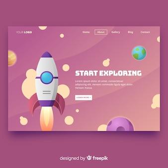 Landing page con cohete
