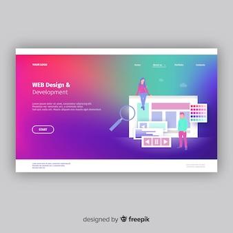 Landing page colorida con degradado
