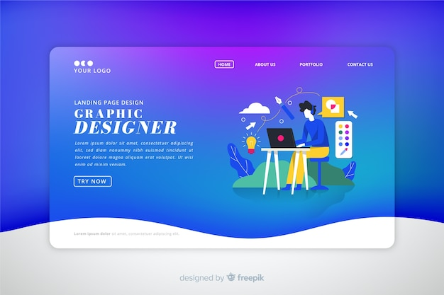 Landing page colorida con degradado