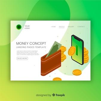 Landing page concepto dinero