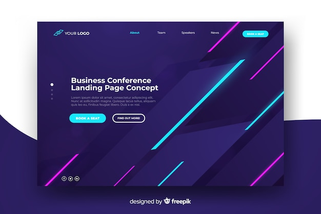 Landing page de conferencia de negocios