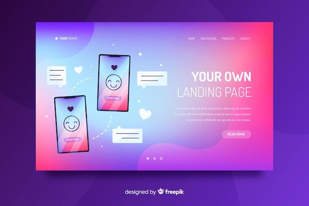 Landing page degradada colorida