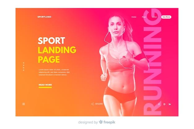 Landing page deporte con foto