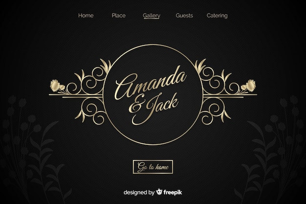 Landing page dorada elegante de boda