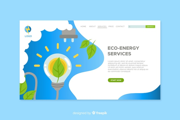 Landing page ecología diseño plano