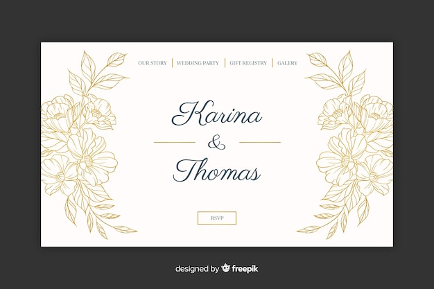 Landing page elegante de boda