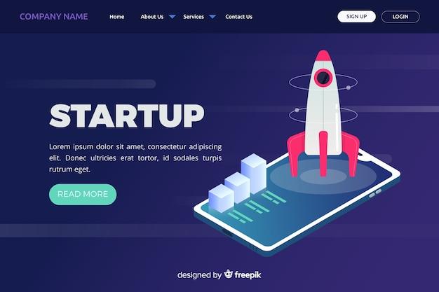 Landing page de empresa con cohete
