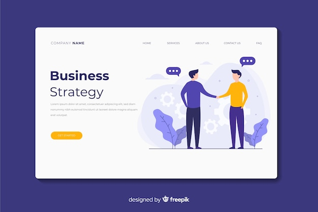 Landing page de estrategia de negocios