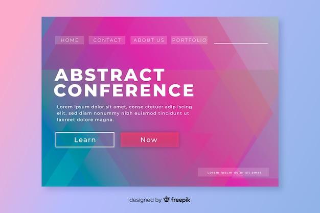 Landing page formas abstractas planas conferencia de negocios