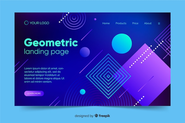 Landing page de formas geométricas con degradado