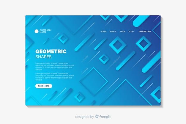 Landing page con formas geométricas con degradado