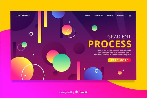 Landing page de formas geométricas con degradados
