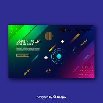 Landing page con formas geométricas gradientes