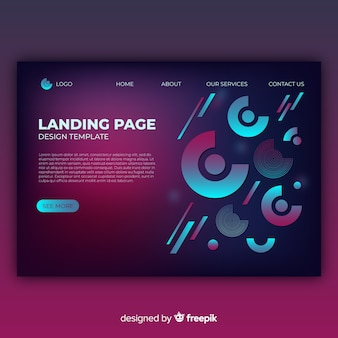 Landing page con formas geométricas