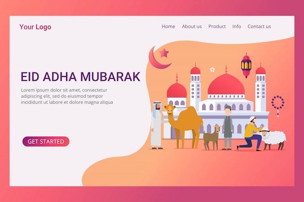Landing page hajj y umrah concepto de diseño.