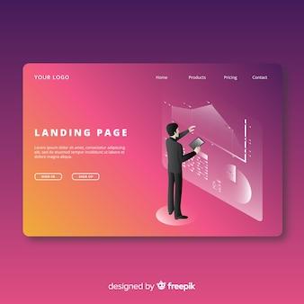 Landing page infografía isométrica