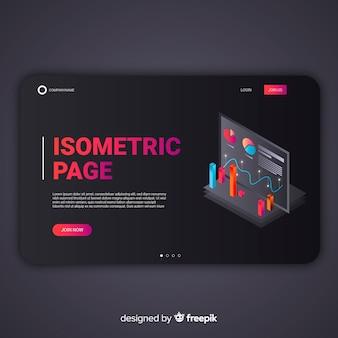 Landing page infográfica isométrica oscura