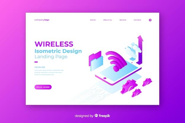 Landing page isométrica de wireless network