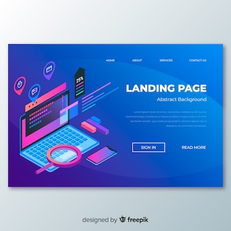 Landing page en isométrico
