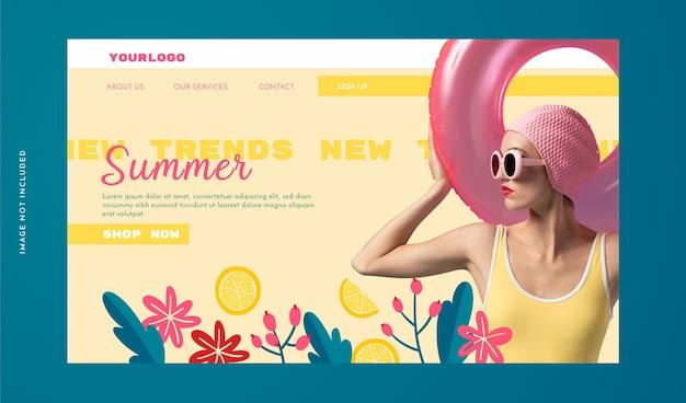 Landing page de moda con elementos orgánicos.