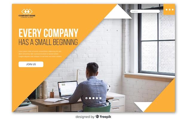 Landing page de negocios con foto