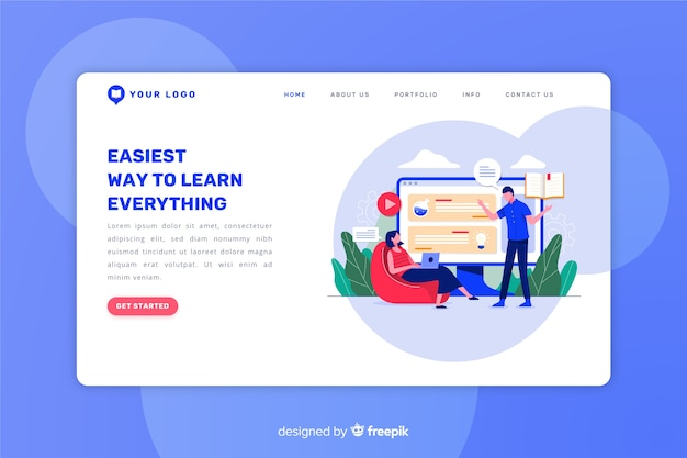 Landing page plana concepto e-learning
