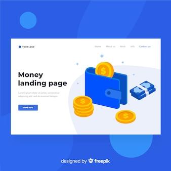 Landing page plana dinero con cartera