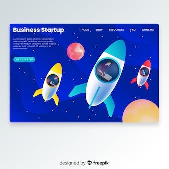 Landing page de startup con un cohete