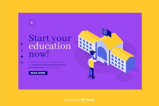 Landing page de universidad en isométrico